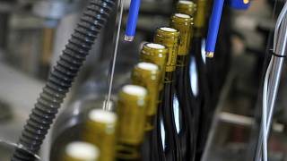 Bottles of wine are pictured in the Vinescence cellar in Saint Jean d'Ardieres, in the Beaujolais region, eastern France, in November 2019.