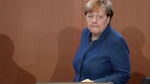 المستشارة الألمانية أنغيلا ميركل خلال أحد الاجتماعات الوزارية الأسبوعية في برلين في يناير الفائت