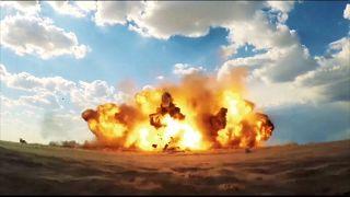 صورة مجتزأة من فيديو للحرس الثوري للحظة انفجار الصاروخ الباليستي الجديد رعد-500