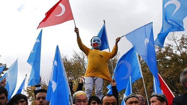Çin'in Doğu Türkistan'da Uygur Türklerine uyguladığı baskıya tepki amacıyla İstanbul'daki bir gösteri