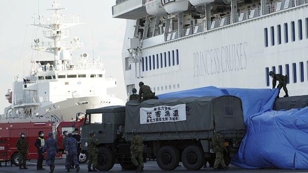 """سفينة الرحلات الترفيهية """"دايموند برينسس"""" الراسية قبالة سواحل اليابان"""