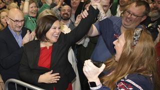 Sinn Fein leader Mary Lou McDonald celebrates with supporters in central Dublin