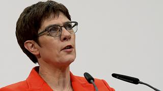 Annegret Kramp-Karrenbauer, chair of the German Christian Democratic Union (CDU), during a press conference in Berlin, Germany, Friday, Feb. 7, 2020.