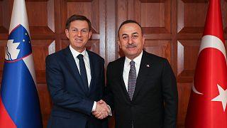 Dışişleri Bakanı Mevlüt Çavuşoğlu, resmi ziyaret amacıyla Ankara'da bulanan Slovenya Dışişleri Bakanı Miro Cerar ile bir araya geldi