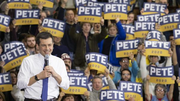Democratic presidential candidate Pete Buttigieg smiles as his supporters cheer during a campaign rally, Sunday, Feb. 9, 2020, in Nashua, N.H.