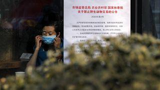 """امرأة في مقهى في بيكين، تقف بجانب لافتة كتب عليها: """"منع الاتجار بالحيوانات البرية، إثر تفشي فيروس كورونا"""". 2020/02/10"""