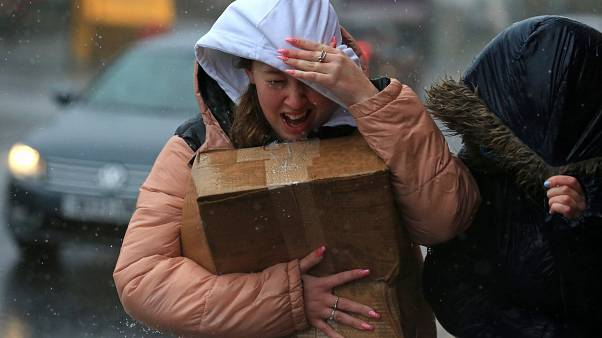 High winds and rain in Sheffield, northern England, as Storm Ciara swept over the country.