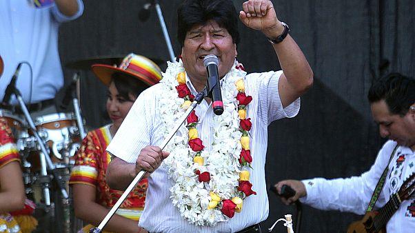 Morales durante un acto en Buenos Aires el pasado enero, celebrando el que habría sido su 14º aniversario en el poder