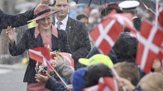Queen Margrethe of Denmark is welcomed by students at a Danish school in Flensburg, Germany
