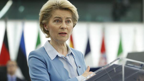 European Commission President Ursula von der Leyen at the European Parliament in Strasbourg, eastern France, Tuesday, Feb.11, 2020.