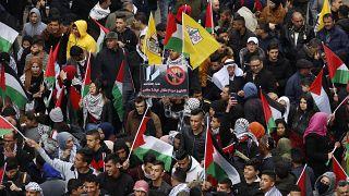 مظاهرة للفلسطينيين في رام الله ضد صفقة القرن 11 فبراير 2020