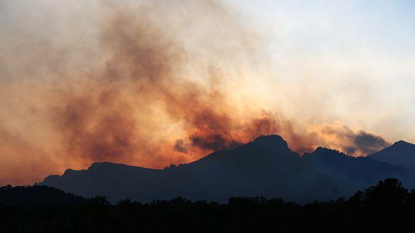 De la fumée au-dessus du village corse de Sari-Solenzara, le 11 février 2020