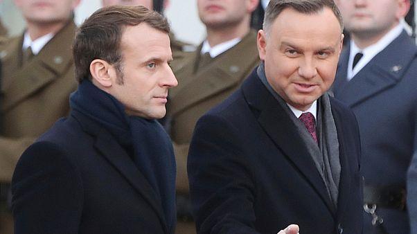 Presidente polaco Andrzej Duda recebe Presidente francês Emmanuel Macron em Varsóvia