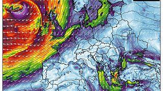 Velocidad del viento y presión el sábado por la mañana