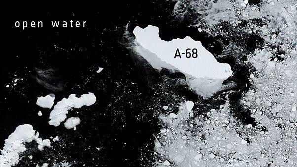 El gigantesco A-68 en mar abierto, visto por el satélite Sentinel 3 de Copernicus el 9 de febrero