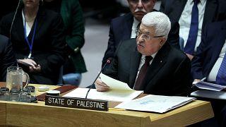 New York'taki BM Genel Merkezi'nde konuşan Filistin Devlet Başkanı Mahmud Abbas.
