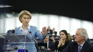 European Commission President Ursula von der Leyen delivers her speech at the European Parliament in Strasbourg, France, Tuesday, Feb.11, 2020. (AP Photo/Jean-Francois Badias)
