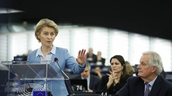 European Commission President Ursula von der Leyen delivers her speech at the European Parliament in Strasbourg, France, Tuesday, Feb.11, 2020. (AP Photo/Jean-Francois Badias)