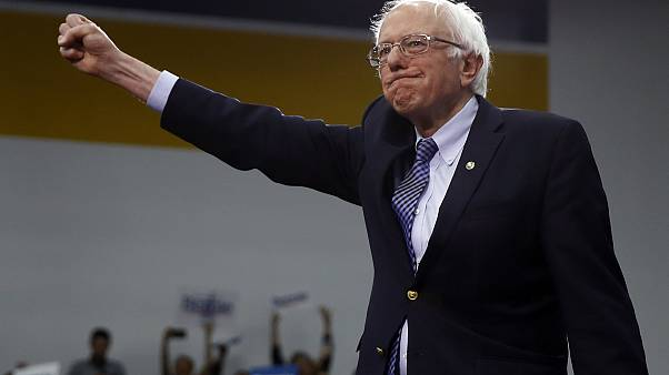Democratic presidential candidate Sen. Bernie Sanders, I-Vt., arrives to speak to supporters at a primary night election rally in Manchester, N.H.
