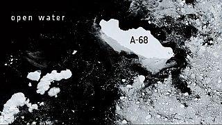 Bilder des Sentinel 3 zeigen den größten Eisberg der Welt, der ins offene Meer treibt.