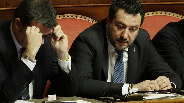 (February 12, 2020) League leader Matteo Salvini attends a debate at Senate, prior to a vote on lifting his parliamentary immunity