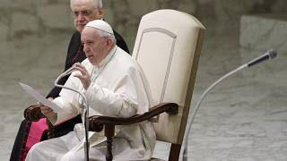 Pope Francis reads his message during the weekly general audience at the Vatican, Wednesday, Feb. 12, 2020. (AP Photo/Gregorio Borgia)