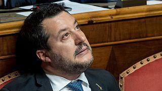 Matteo Salvini, lors d'une séance du Sénat italien à Rome le 12 février 2020.