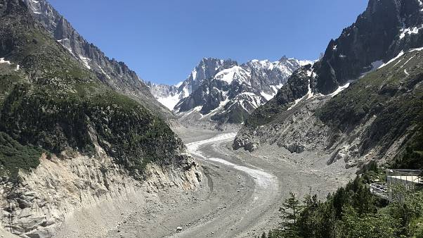 "The view on Mer de Glace (""Sea of Ice""), a valley glacier on the northern slopes of the Mont Blanc massif, in the French Alps."