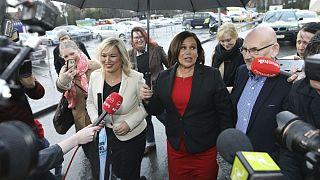 Sinn Fein leader Mary Lou McDonald, right, and deputy leader Michelle O'Neill arrive at the RDS count centre in Dublin, Ireland, Sunday, Feb. 9, 2020.