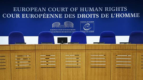 This photo shows the inside of the European Court of Human Rights (ECHR) in Strasbourg, eastern France, on February 7, 2019.