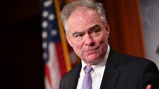 Senator Tim Kaine(D-VA), speaks following the Senate voted on the War Powers resolution, at the US Capitol in Washington, DC on February 13, 2020.