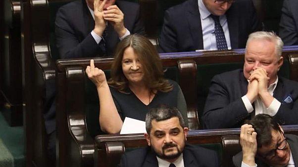 Joanna Lichocka a lengyel Szejm ülésén, 2020. február 13-án