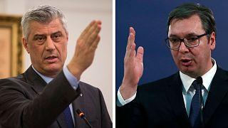 President of Kosovo Hashim Thaci, left, and Serbian President Aleksandar Vucic.