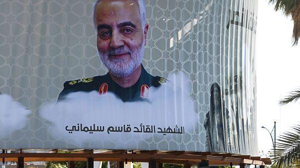 صورة كبيرة لقاسم سليماني في الكرادة بالعاصمة العراقية بغداد