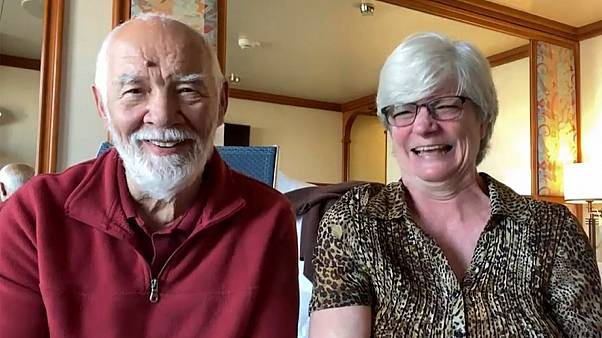 Cheryl et Paul Molesky, depuis leur cabine du Diamond Princess, le 12 février 2020.