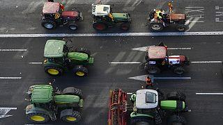 İspanya'nın üçüncü büyük kentinde çiftçiler traktörleri ile sokağa çıktı