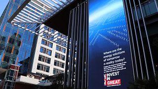 Billboard seen at the Dubai International Financial Centre in the United Arab Emirates