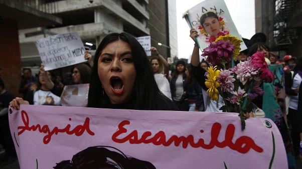 Une femme tient une bannière arborant une image d'Ingrid Escamilla, une jeune femme tuée par son compagnon. Mexico, manifestation contre les féminicides, 14 février 2020.