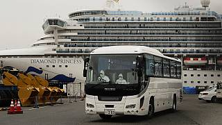 uarantined Diamond Princess cruise ship is docked Saturday, Feb. 15, 2020, in Yokohama, near Tokyo.