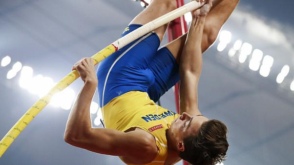 Sweden's Armand Duplantis, seen here in 2019, set yet another world pole vault record