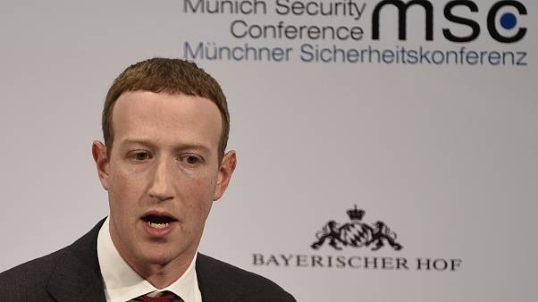 Facebook CEO Mark Zuckerberg speaks on the second day of the Munich Security Conference in Munich, Germany, Saturday, Feb. 15, 2020