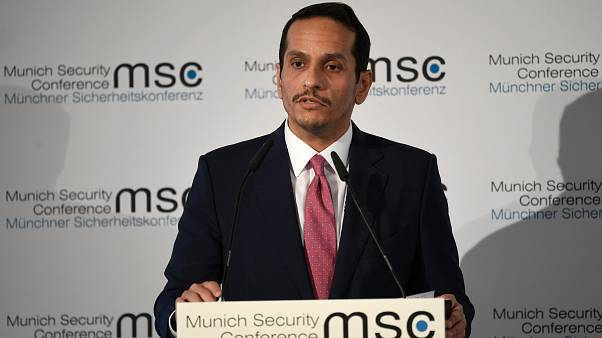 وزير الخارجية القطري الشيخ محمد بن عبد الرحمن آل ثاني يتحدث في مؤتمر ميونيخ للأمن جنوب ألمانيا. 15/02/2020