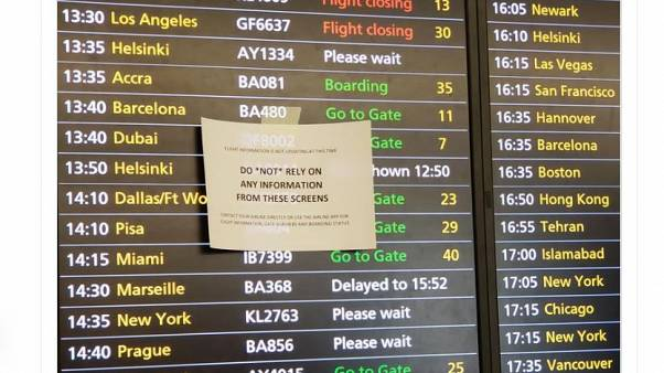 The Heathrow systems failure froze information screens in all terminals