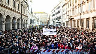 Sardines against right-wing populism, in St. Apostles Square, in Rome, Sunday