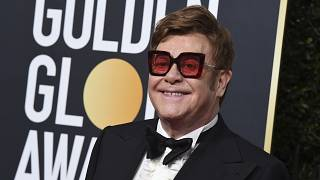 Elton John arrives at the 77th annual Golden Globe Awards at the Beverly Hilton Hotel on Sunday, Jan. 5, 2020, in Beverly Hills, Calif. (Photo by Jordan Strauss/Invision/AP)