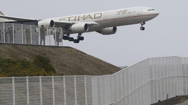 AIRPORT SECURITY; People enjoy viewing of Airplanes at the park of Narita Airport, in Narita, Saturday, March 14, 2015. (AP Photo/Koji Sasahara)