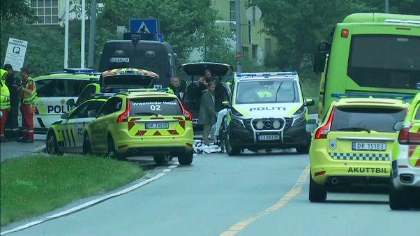 Police and ambulances near Al-Noor Islamic centre.