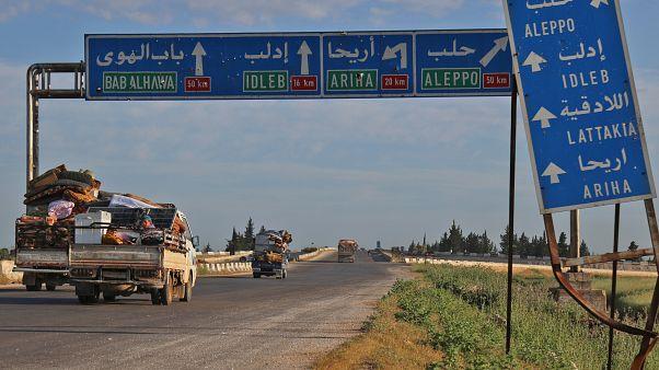 الطريق السريع الواصل بين دمشق وحلب قرب بلدة سراقب بمحافظة إدلب. 09/05/2019