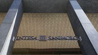 View of a Intesa Sanpaolo bank branch in Milan. (AP Photo/Antonio Calanni)