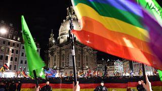 In piazza a Dresda contro l'islamofobia e il razzismo di Pegida
